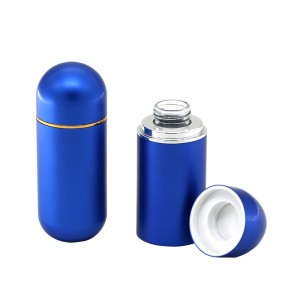 Luxury health care bottle 30 ml 80 ml electroplating aluminum capsule bottle