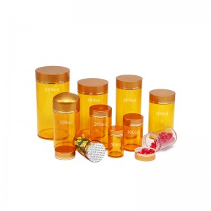 100ml yellow plastic medicine bottle