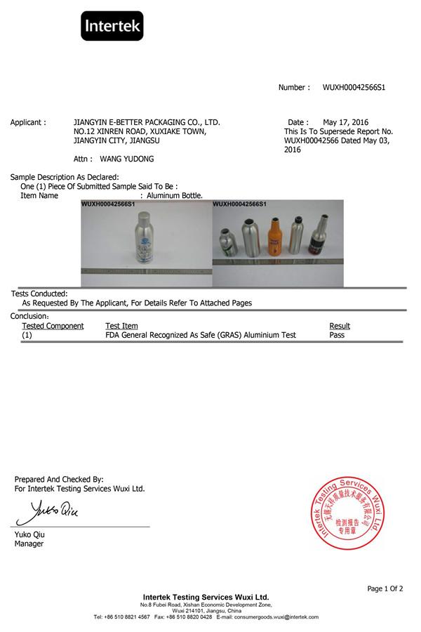 آلومینیوم بطری گواهینامه FDA-1