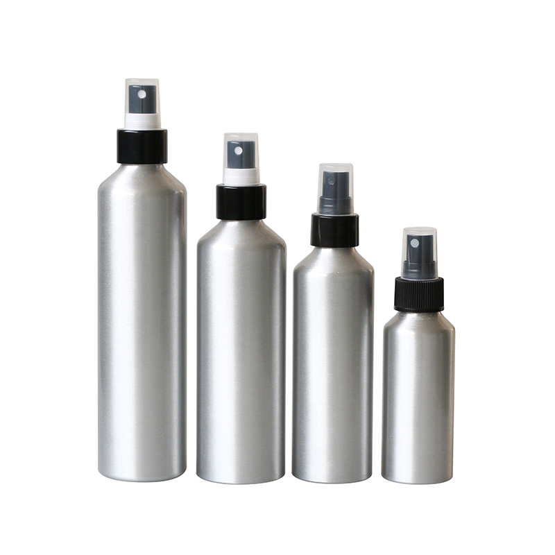 sloping shoulder aluminum cosmetic bottle with pump sprayer Featured Image