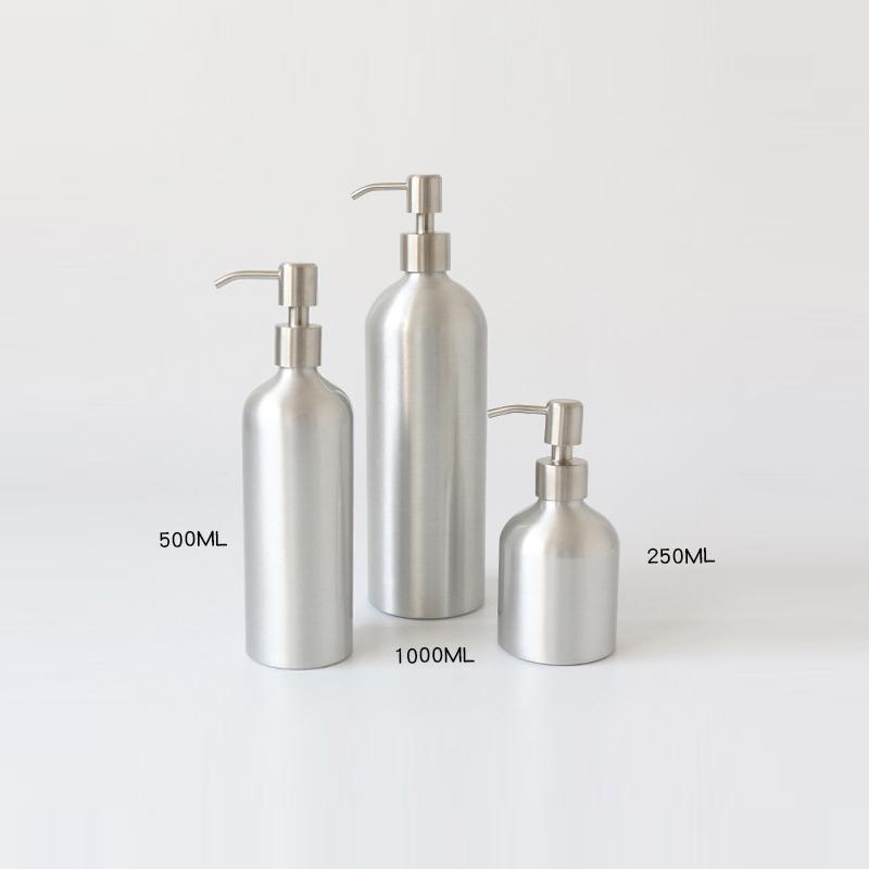 Stock 300ml 16oz Aluminum Cosmetic bottle Travel 500ml 1L aluminum cosmetic bottle with spray pump for hotel use Featured Image