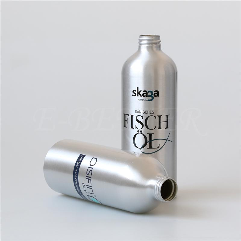 OEM custom logo cheap price empty 500ml 750ml 1000ml aluminum bottle man style round metal bottle for shampoo Featured Image